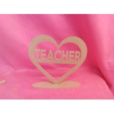 4mm Thick MDF Teacher Heart Standing 200mm wide